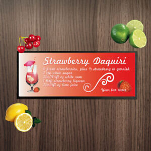 Personalised Strawberry Daquiri Ingredients Design Bar Runner Cocktail Bar Towel