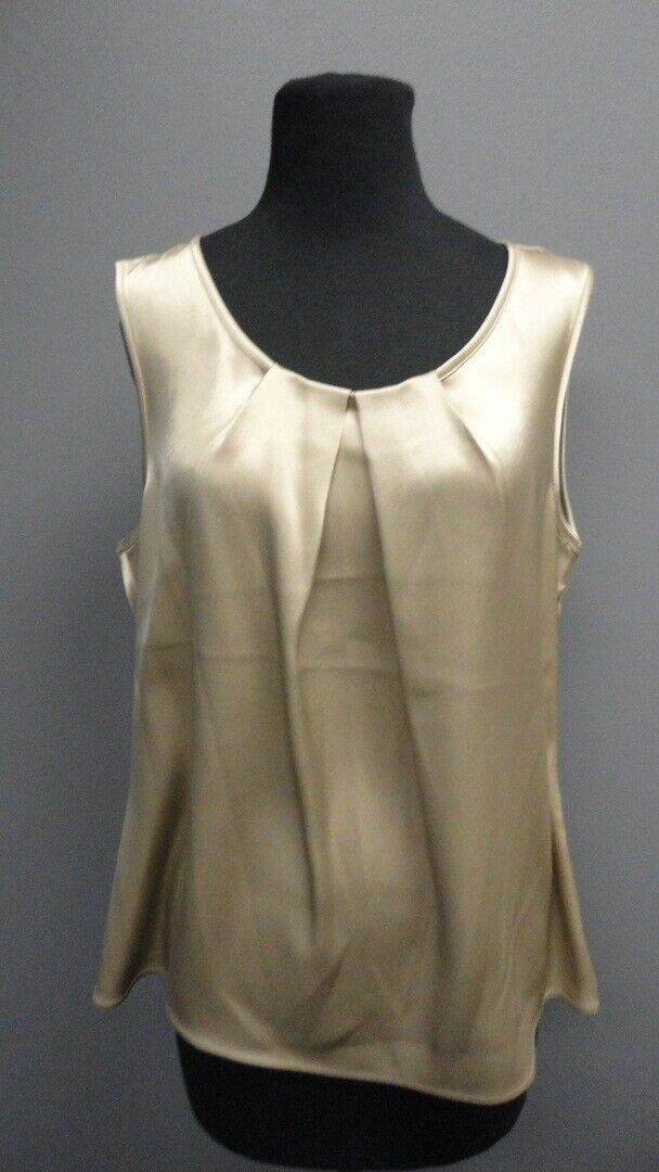 ST. JOHN COUTURE Copper Sleeveless Scoop Neck Solid Casual Blouse Sz 12 GG4245