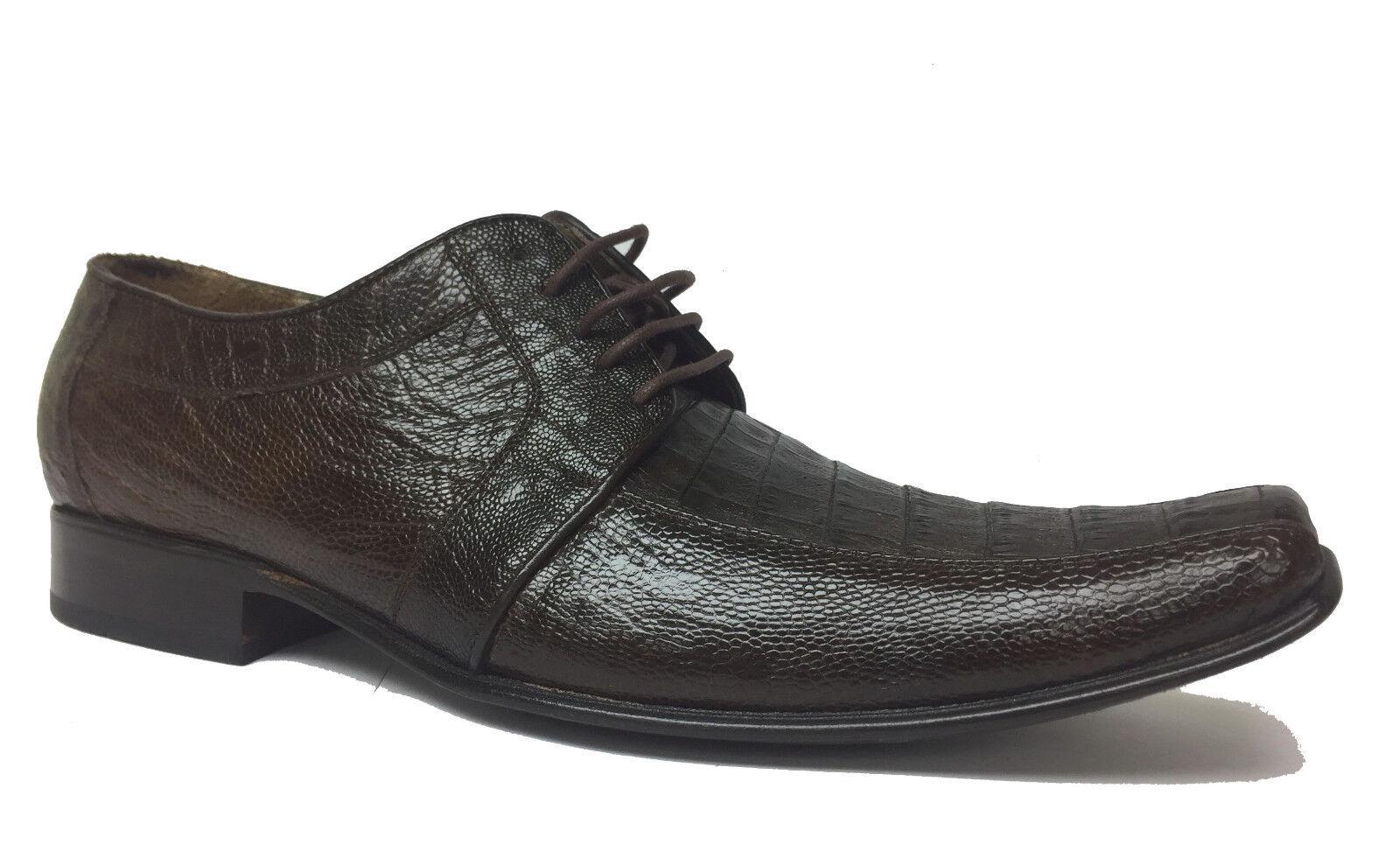Para hombres Cuero Genuino Avestruz cocodrilo marrón suave del vientre vestido tamaño del zapato 9