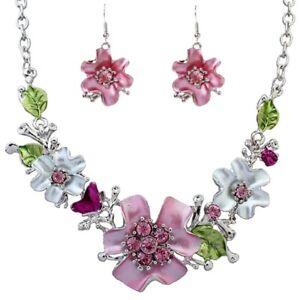 Neu-Mode-Blumen-Halskette-Ohrringe-Diamant-Elegante-Frauen-Schmuck-Set-von-An-VG