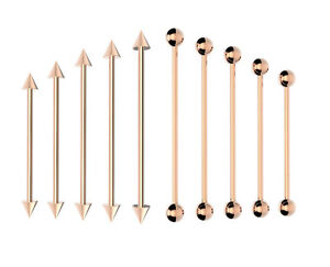 ROSE-GOLD-Industrial-Scaffold-Barbell-Ear-Piercing-Bar-Surgical-Steel