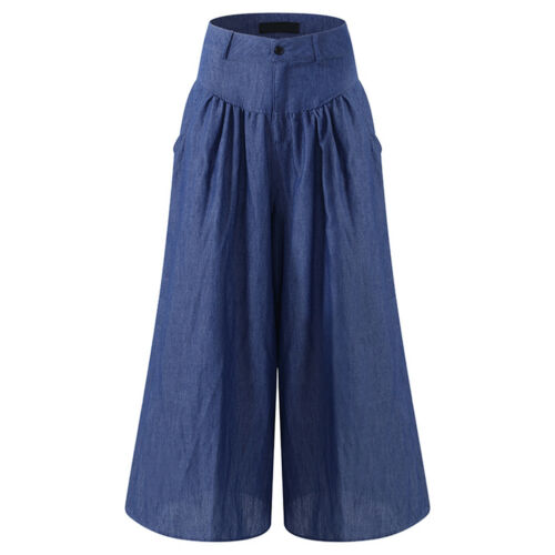 Womens OL Office Loose Stretch High Waist Wide Leg Long Pants Palazzo Trousers A