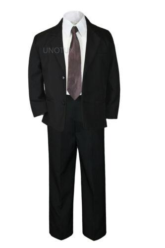 5pc Baby Boy Kid Teen Party Wedding Formal Party Suit Black w// Extra Tie sz 8-20