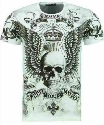 Herren T-Shirt BLACKROCK Skull Totenkopf Vintage Sommer Kurzarm weiß Gr 3XL