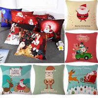 Christmas Santa Claus Deer Snowman Pillow Case Cushion Cover Xmas Car Home Decor