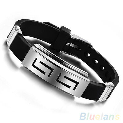 Hot Men's Black Punk Rubber Stainless Steel Wristband Clasp Cuff Bangle Bracelet