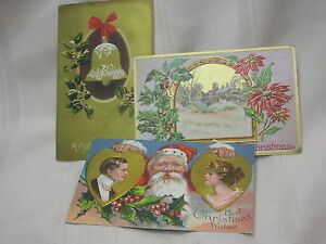 3-Vintage-1910-Christmas-Postcards-Embossed-Santa-Bell-Poinsettia
