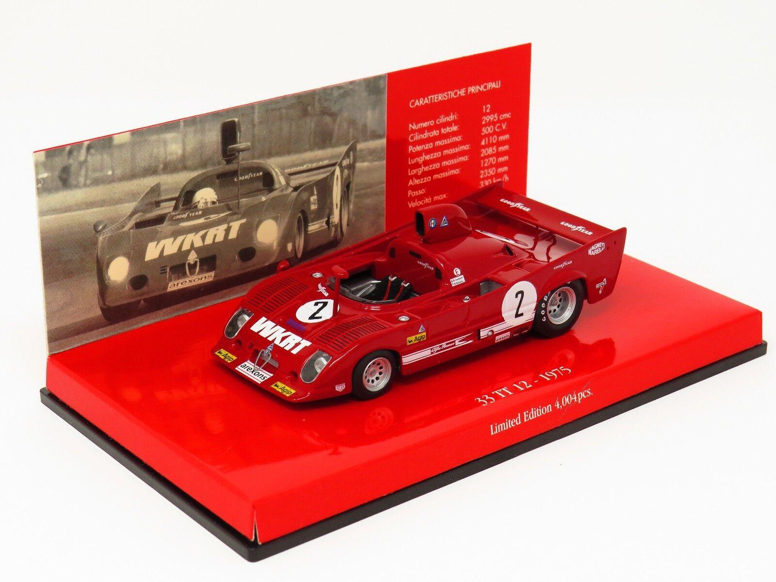 Minichamps 403 751202 Alfa Romeo 33 Tt 12 1975 Monza rosso 1 43 Escala en Caja