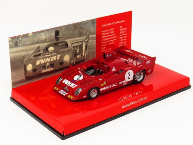 Minichamps 403 751202 Alfa Romeo 33 TT 12 1975 Monza Rojo 1 43 ESCALA en Caja