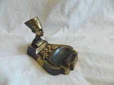 "Egyptian Brass Oxidized Queen Nefertiti Horus Lotus Ashtray Incense Burner 3.5"""
