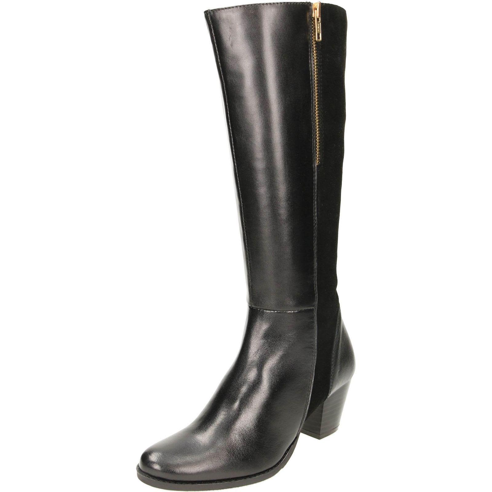 Womens Mädchen black Comfort Plus Leder Knielang Freizeit Formell Stiefel