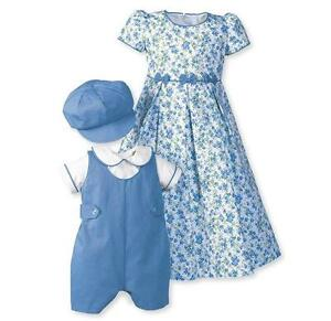Boutique-Girls-Easter-Dress-16-French-Blue-Floral-Bows-Therese-WOODEN-SOLDIER