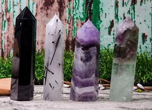 4PCS-Auralite-23-Black-Tourmaline-Black-Obsidian-Fluorite-points-Tower