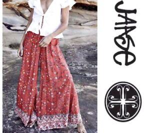 Waist Junior Medium larghi Orange Elastic New Pantaloni Bombay Jaase Print Floral Boho nX7vX0f