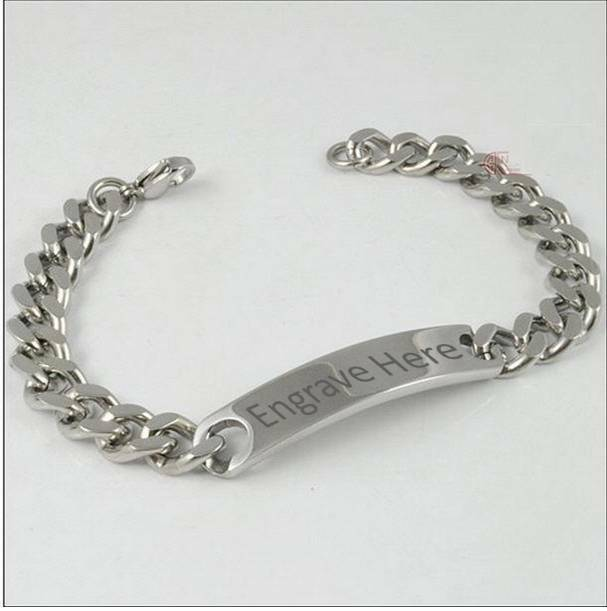 MENS STAINLESS STEEL LINKS IDENTITY BRACELET ENGRAVED / PERSONALISED FREE BOX