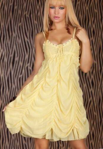Pretty Yellow Ruched Ripple Summer Dress 8 10