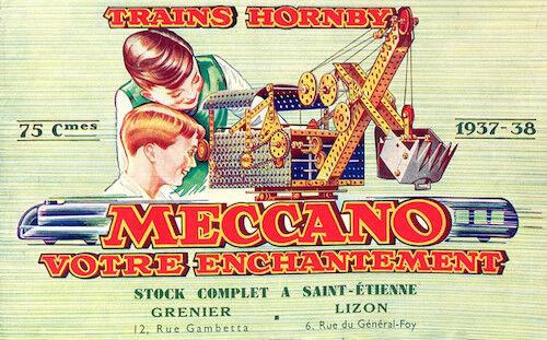 Meccano Meccano Meccano trenes Hornby Diecast nostálgico francés Publicidad Repro Cartel 2a19f9