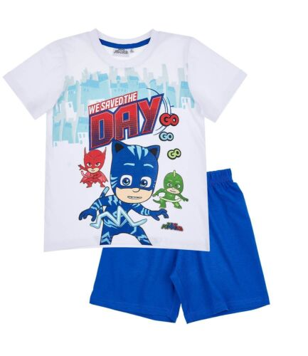 Blue Short Sleeve Summer Pyjamas PJs Boys Kids Official PJ Masks White