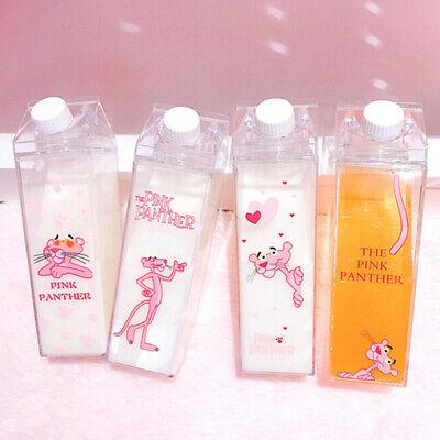 Water bottles Milk Box Shape Transparent Plastic pink panther Drink Bo TDO