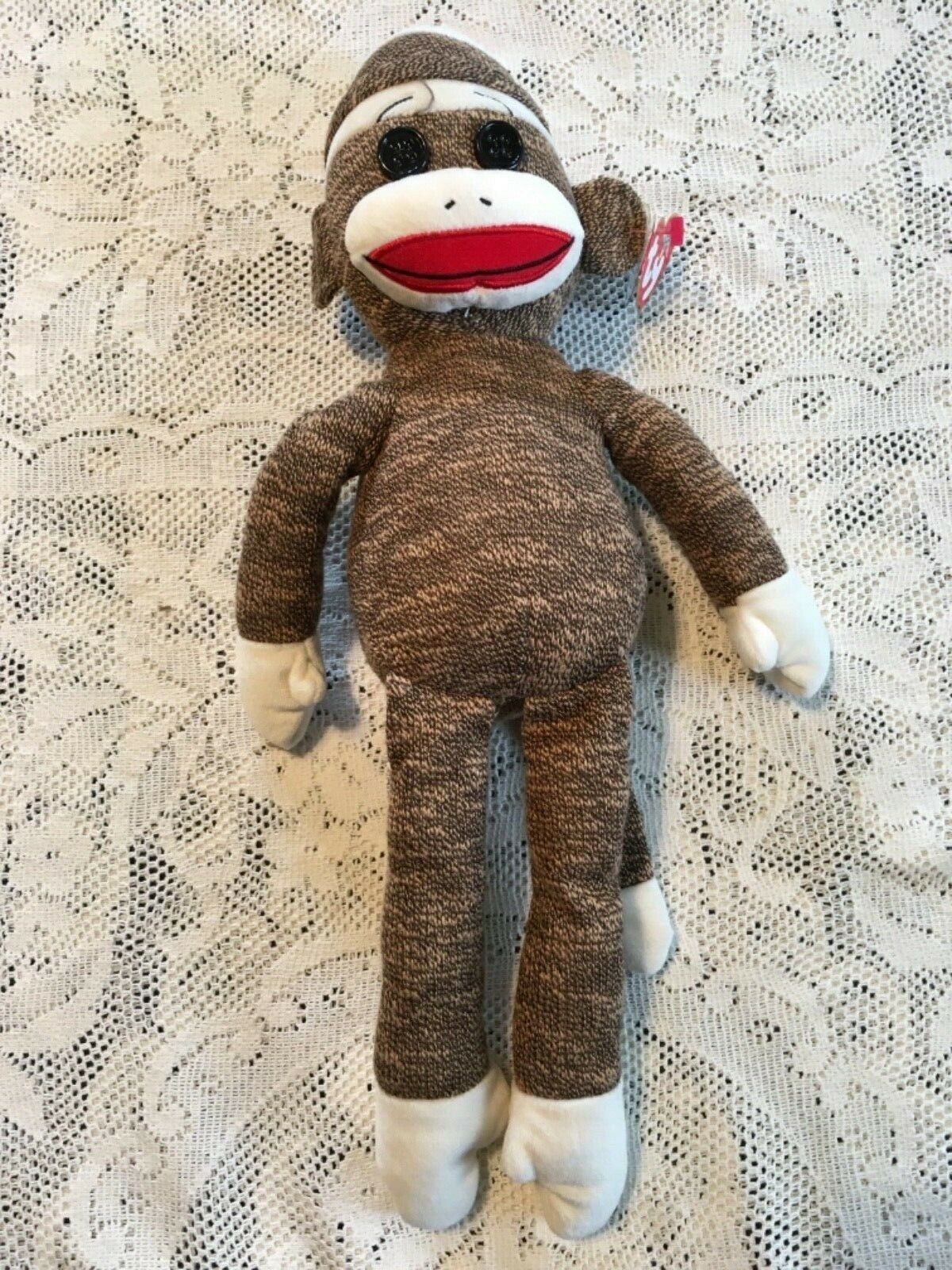 Brown Medium ~ 16 inch Plush MWMT SOCKS the Sock Monkey Ty Beanie Buddy