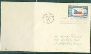 US-910 OVER RUN COUNTRIES CEZCHOSLOVAKIA cancel.WASHINGTON DC.JUL.12-1943 ADDR