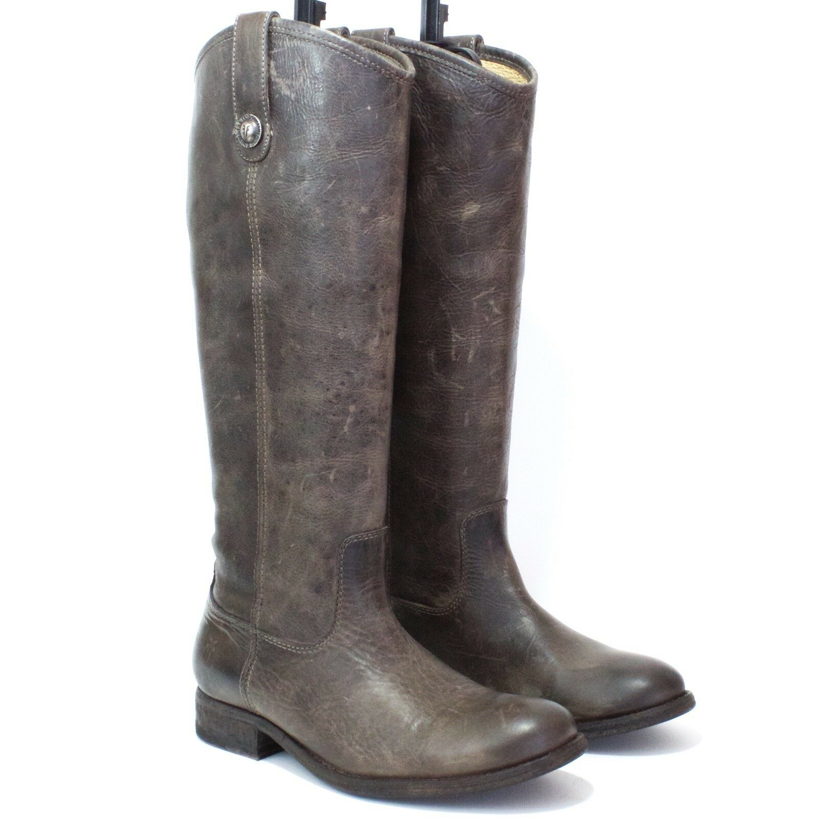 FRYE Riding Boots - Sz 6.5B - Melissa Button - Distressed Leather - Green Brown