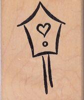 Stylized Birdhouse Art Impressions Wood Mounted Rubber Stamp 2 X 3 Free Ship