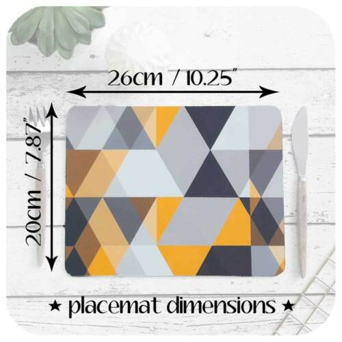 Modern Grey /& Mustard Yellow Placemats Scandi Geometric Placemat Set of Four