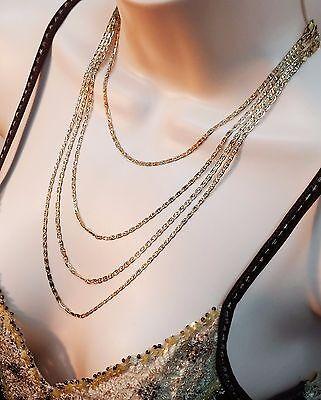 10k Solid Gold 3 Color Multi Tone Valentino Necklace Chain 1.65 mm