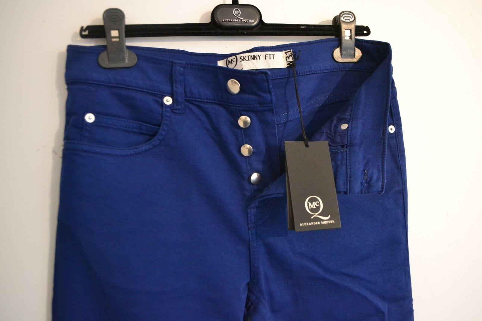TAG Nuovo Nuovo Nuovo di zecca con Da Uomo Autentico Alexander McQueen jeans blu Button 31  W 32  2 fcccc4
