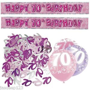 Pink 70th Birthday Banner Party Decorations Pack Kit Set Balloons