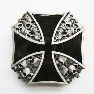 Boucle Ceinture cuir Biker croix de malte têtes mort moto Belt ... 1d27259f5ee