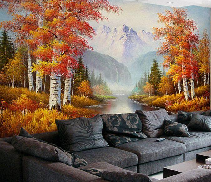 3D 3D 3D Woods, fiume 3 Parete Murale Foto Carta da parati immagine sfondo muro stampa b0c925