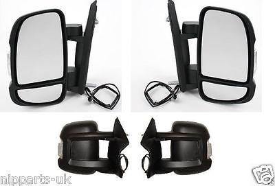 Fiat Ducato 2006-/> Door Mirror Manual Black Short Arm Pair Left /& Right
