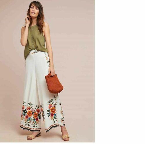 NWT $228 Anthropologie Farm Rio Melila Floral Flared Pants Size M L