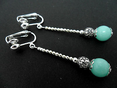 A PAIR OF PALE TURQUIOSE JADE  SILVER PLATED  DANGLY  CLIP ON EARRINGS. NEW.