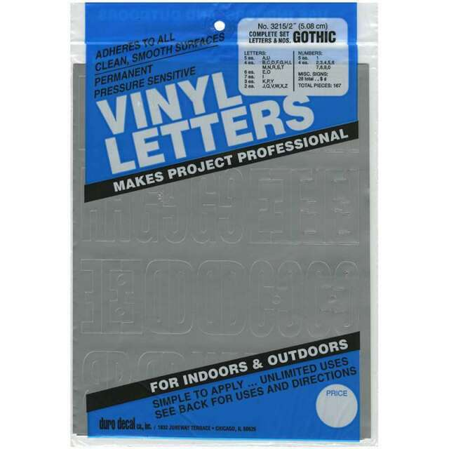 """/""""Permanent Adhesive Vinyl Letters /& Numbers 3/""""/"""" 160//Pkg-White Set Of 3/"""""""