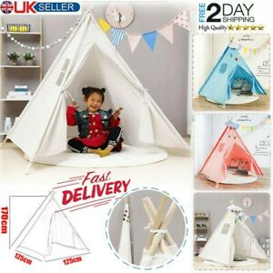 Large Canvas Children Indian Tent Teepee Kids Indoor Outdoor Play House Blue