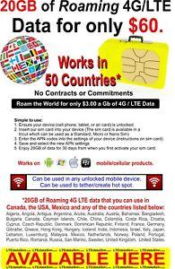 20GB de 4G/LTE 50 dados de roaming Country-LTEdataSim com | eBay