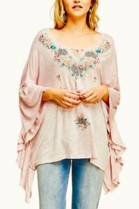 0f938165a9f Image is loading Size-Large-Entro-Pink-Embroidered-Poncho-Ruffle-Sleeve-