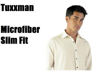a414b97f52a Men s Ivory Fitted Microfiber Tuxedo Shirt Lay down Sale TUXXMAN