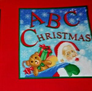Abc Christmas Fabric Book 2 Sew Santa Toys Angels Panel Or Quilt 100 Cotton Ebay