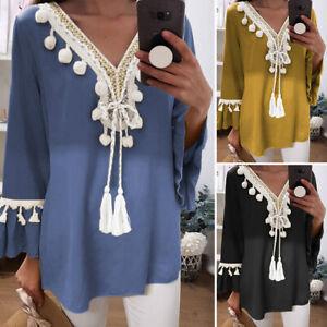 UK-Womens-Casual-Plain-T-Shirt-Long-Sleeve-Tassels-Ethnic-V-Neck-Blouse-Top-8-24
