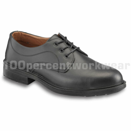 PSF Executive S80 Mens Safety Black Leather Work Shoes with Steel Toe Cap Office