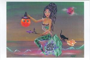 HALLOWEEN AUTUMN MERMAID PUMPKIN BLACK CAT SEASHELL BROOM OCEAN SMALL PRINT