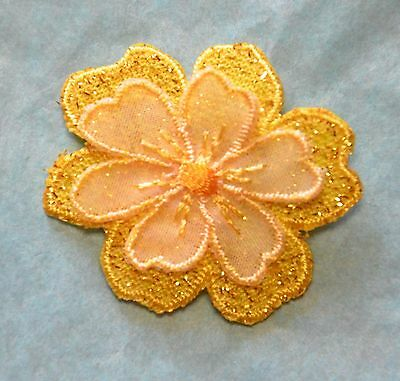 Set of Three Glittery flowers head - card making iron/sew on embroidered motifs