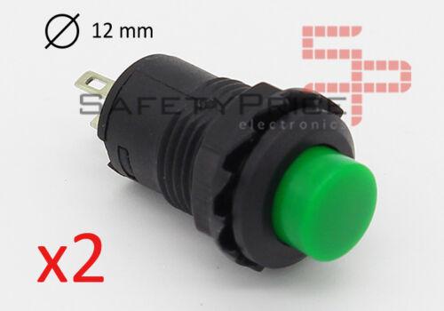 2x Drucktaste Grün Rund 12mm Einbau Knopf On Off 2 Positionen 12 mm Sp