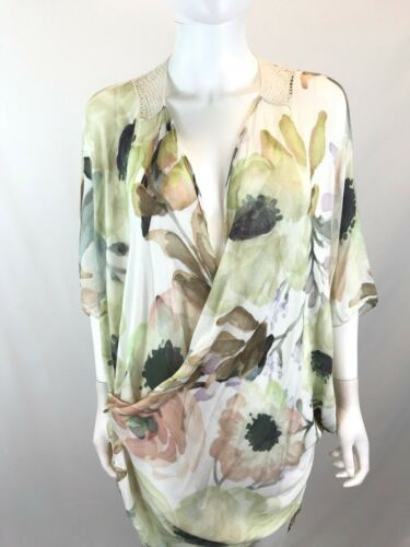 Elizabeth Floral Multi Color Trim Hæklet One Kimono Print Kvinder Size Gillett pBqwnCrp