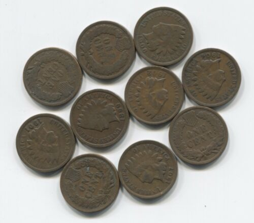 10 Antique Indian Head Pennies Cent Collection Lot w// 2 pre-1900's Nice Old Set