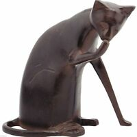 Metal Garden Statue Animal Gnome Sculpture Lawn Ornament Cat Outdoor Art Decor